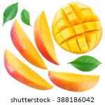 Slices Of Mango Fruit And...