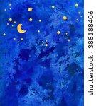 Watercolor Blue Dark Night Sky...