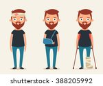 sad injured characters. vector... | Shutterstock .eps vector #388205992