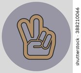 hand with two fingers up in the ... | Shutterstock .eps vector #388210066