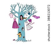 magic tree with clothes. the... | Shutterstock .eps vector #388213072