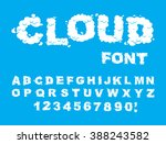 cloud font. abc of white clouds ... | Shutterstock .eps vector #388243582
