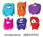 set of funny cartoon monsters  | Shutterstock .eps vector #388245592