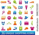set of 36 shopping icons.... | Shutterstock . vector #388253335