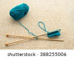 turquoise yarn and knitting... | Shutterstock . vector #388255006