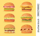 burger cartoon fast food set.... | Shutterstock .eps vector #388258882