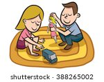 friends share their toys.   Shutterstock .eps vector #388265002