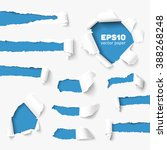 torn paper holes in white paper ... | Shutterstock .eps vector #388268248