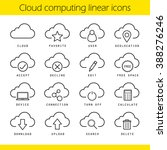 cloud computing linear icons...