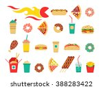 fast food icons set. vector... | Shutterstock .eps vector #388283422