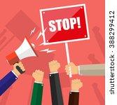 cartoon hands of demonstrants... | Shutterstock .eps vector #388299412