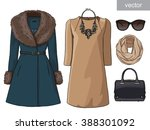 lady fashion set of autumn ... | Shutterstock .eps vector #388301092