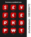 currency symbols icons set for...