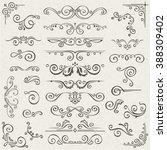 vector set of swirl elements... | Shutterstock .eps vector #388309402