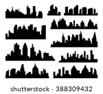 set of vector cities silhouette.... | Shutterstock .eps vector #388309432