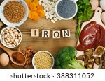 collection iron rich foods as... | Shutterstock . vector #388311052