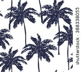 palm trees silhouette on the...   Shutterstock .eps vector #388338055
