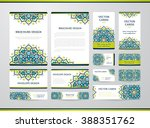 business cards with mandala.... | Shutterstock .eps vector #388351762