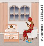 african mother reading a... | Shutterstock .eps vector #388361665