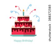 Big Cake Flat Icon Isolated...