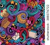 cartoon hand drawn doodles on... | Shutterstock .eps vector #388376722