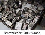 vintage lead letterpress... | Shutterstock . vector #388393066