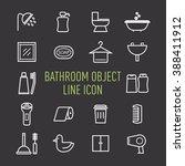 set of bathroom object line icon
