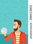 man holding globe.   Shutterstock .eps vector #388413802