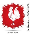 cock designed on grunge frame... | Shutterstock .eps vector #388416808