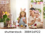 happy easter  a mother and her... | Shutterstock . vector #388416922