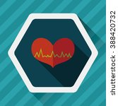 ecg heart flat icon with long... | Shutterstock .eps vector #388420732
