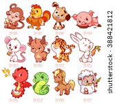 Set Of Zodiac Signs In Cartoon...