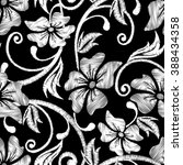 black and white hibiscus... | Shutterstock .eps vector #388434358