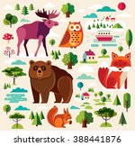 vector set with forest animals... | Shutterstock .eps vector #388441876