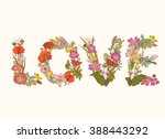 word love of colorful floral...