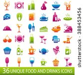 set of 36 food and drinks icons.... | Shutterstock . vector #388453456