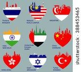 set of nine cities skylines in...   Shutterstock . vector #388453465