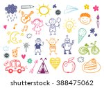 happy kids doodle set  children ... | Shutterstock .eps vector #388475062
