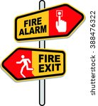 fire exit and fire alarm sign | Shutterstock .eps vector #388476322