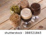 glasses filled with dark beer ... | Shutterstock . vector #388521865