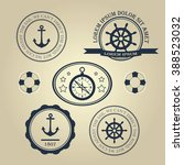 set nautical theme logos | Shutterstock . vector #388523032