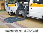 The automobile equipped with the lift for Wheelchair - stock photo