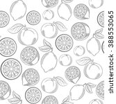 black and white citrus seamless ... | Shutterstock .eps vector #388553065