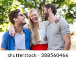 hip friends laughing together... | Shutterstock . vector #388560466