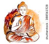 buddha. hand drawn grunge style ... | Shutterstock .eps vector #388561528
