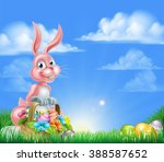 Pink Easter Bunny With A Basket ...