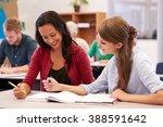 teacher and student work... | Shutterstock . vector #388591642