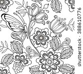 seamless ornament flowers and... | Shutterstock .eps vector #388610776