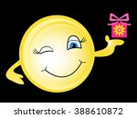 smiley holding a wrapped gift.... | Shutterstock .eps vector #388610872