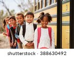 elementary school kids queueing ... | Shutterstock . vector #388630492